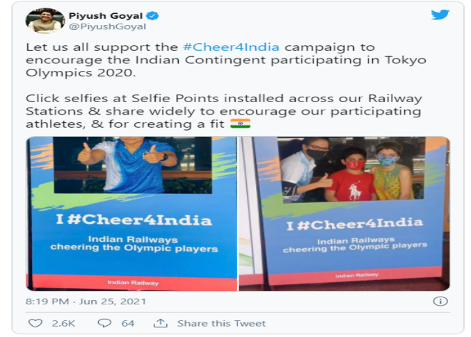 Cheers for Team Indian ahead of Tokyo Olympics from Cricket Fraternity