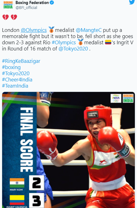 Mary Kom's losing her Women's Flyweight after Round of 16 defeat