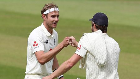 key pacer Stuart Broad tweaking his right calf during a warm-up