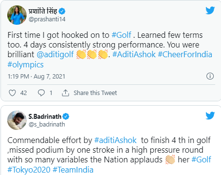 Aditi Ashok misses medal but inspires India in Tokyo Olympics 2020