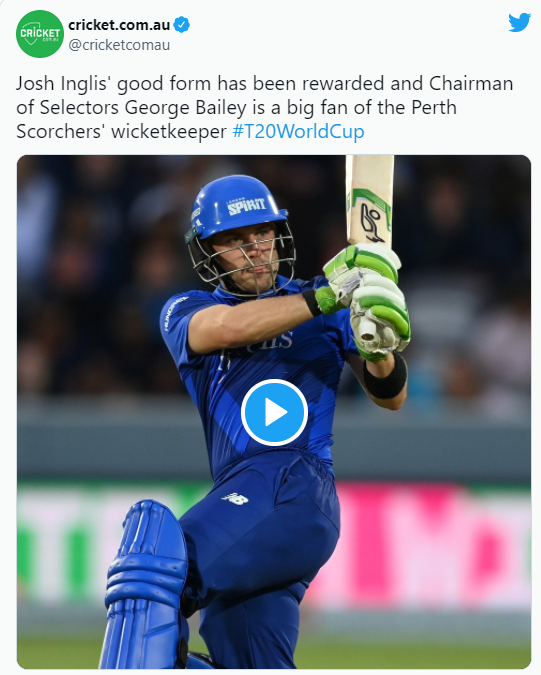 Josh Inglis the Australian cricketer selected for T20 World Cup