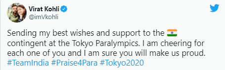 Virat Kohli wished good luck to the Indian contingent for Tokyo the Paralympics