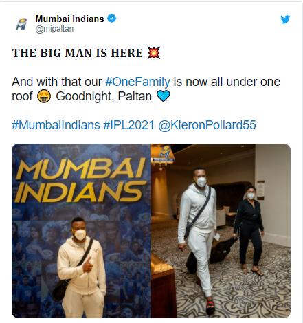 Kieron Pollard lands in UAE for the Indian Premier League clash against CSK: IPL 2021