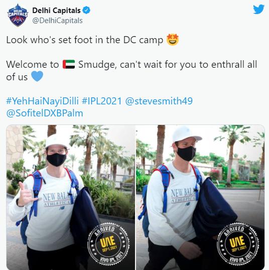 Steve Smith joins Delhi Capitals' Squad in Indian Premier League 2021
