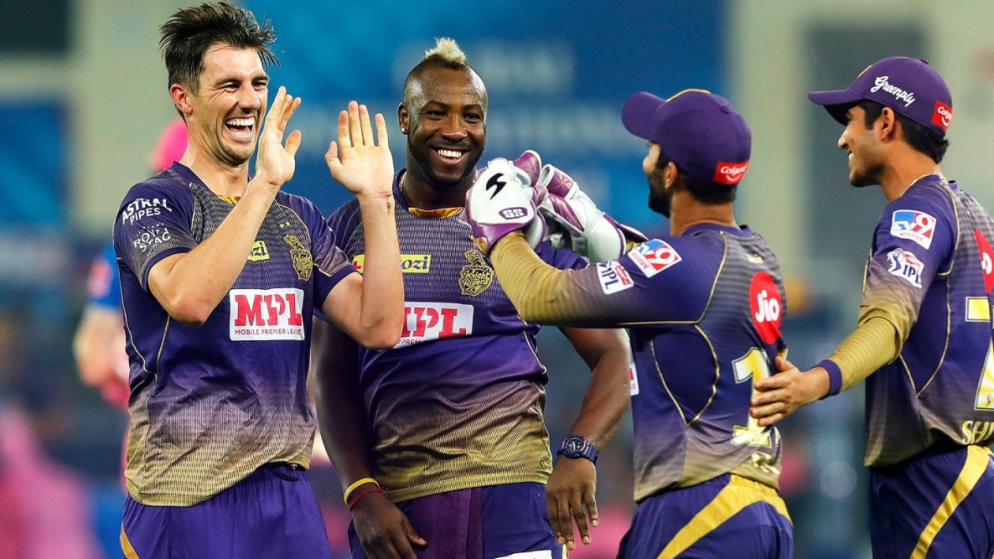 Kolkata Knight Riders' celebration with Cake smashes and hugs after defeating Delhi Capitals in IPL 2021