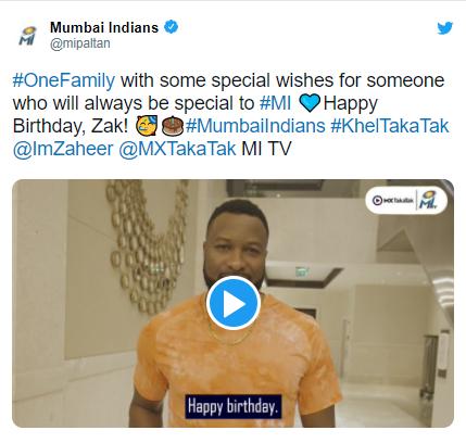 """Mumbai Indians """"Happy Birthday Zak pa"""" to Zaheer Khan in IPL 2021"""